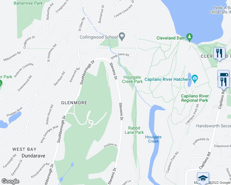 map of restaurants, bars, coffee shops, grocery stores, and more near 163 Stevens Drive in West Vancouver
