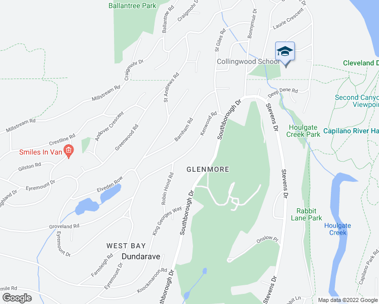 map of restaurants, bars, coffee shops, grocery stores, and more near 660 Kenwood Road in West Vancouver