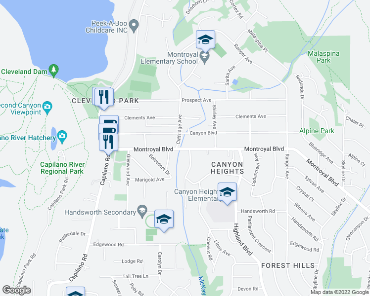 map of restaurants, bars, coffee shops, grocery stores, and more near 1006 Montroyal Boulevard in North Vancouver