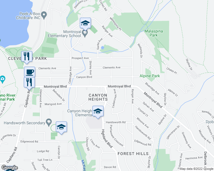 map of restaurants, bars, coffee shops, grocery stores, and more near 908 Montroyal Boulevard in North Vancouver