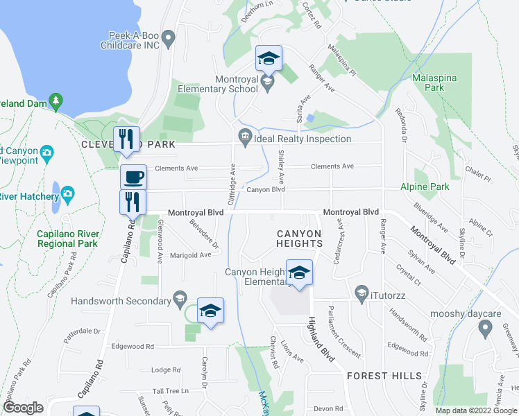 map of restaurants, bars, coffee shops, grocery stores, and more near 980 Montroyal Boulevard in North Vancouver