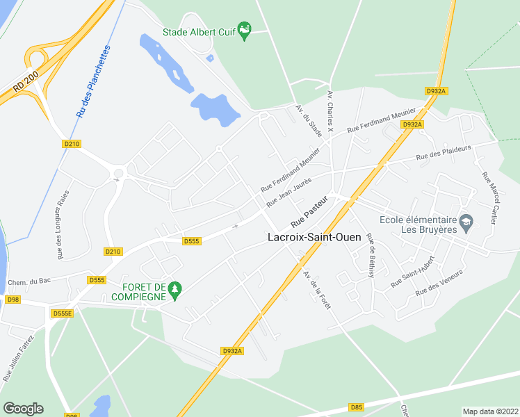 map of restaurants, bars, coffee shops, grocery stores, and more near 12 Rue Jules Ferry in Lacroix-Saint-Ouen