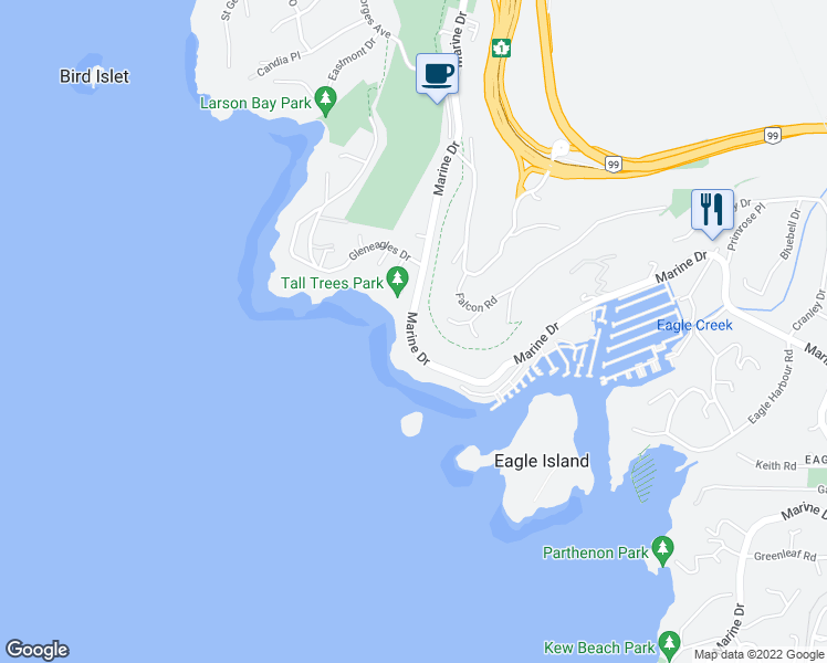 map of restaurants, bars, coffee shops, grocery stores, and more near 5967 Marine Drive in West Vancouver