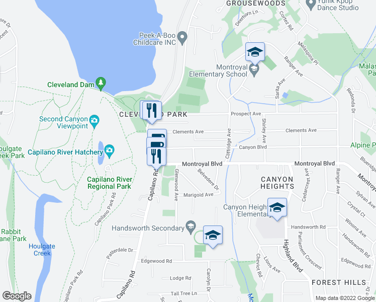 map of restaurants, bars, coffee shops, grocery stores, and more near 1079 Canyon Boulevard in North Vancouver