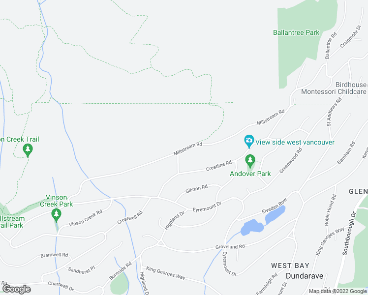 map of restaurants, bars, coffee shops, grocery stores, and more near 1125 Millstream Road in West Vancouver