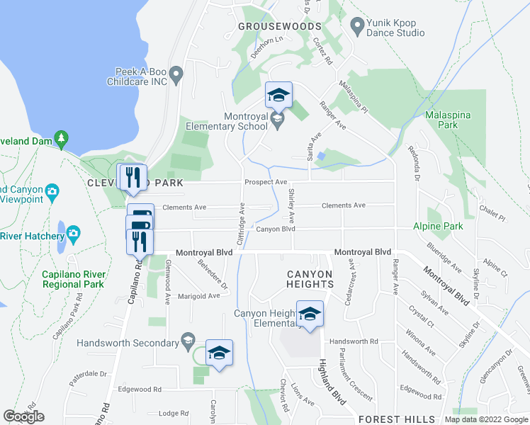 map of restaurants, bars, coffee shops, grocery stores, and more near 985 Clements Avenue in North Vancouver