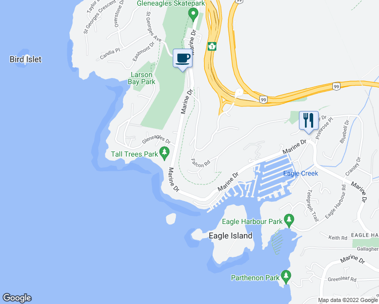 map of restaurants, bars, coffee shops, grocery stores, and more near 5980 Falcon Road in West Vancouver
