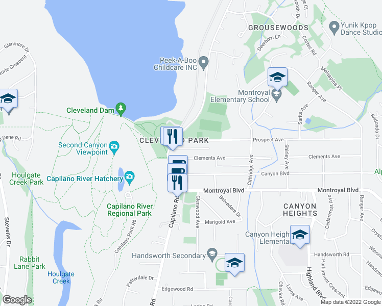 map of restaurants, bars, coffee shops, grocery stores, and more near 1126 Clements Avenue in North Vancouver