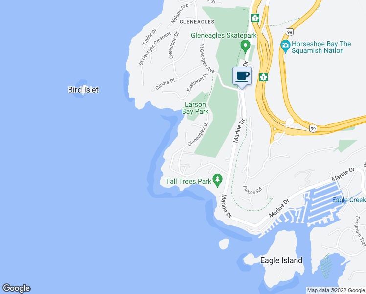 map of restaurants, bars, coffee shops, grocery stores, and more near 6098 Blink Bonnie Road in West Vancouver