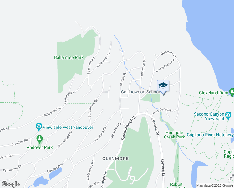 map of restaurants, bars, coffee shops, grocery stores, and more near 589 Saint Giles Road in West Vancouver