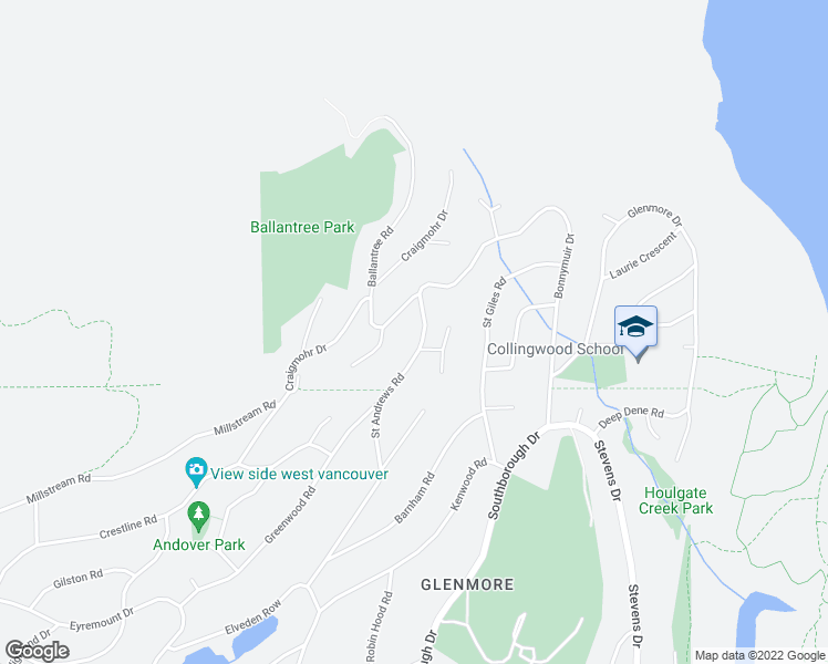 map of restaurants, bars, coffee shops, grocery stores, and more near 561 Saint Andrews Road in West Vancouver