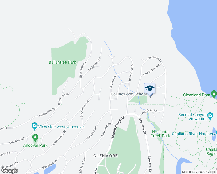 map of restaurants, bars, coffee shops, grocery stores, and more near 579 Saint Giles Road in West Vancouver