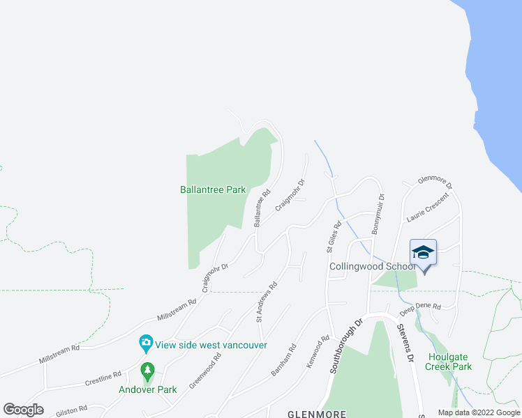 map of restaurants, bars, coffee shops, grocery stores, and more near 561 Ballantree Road in West Vancouver