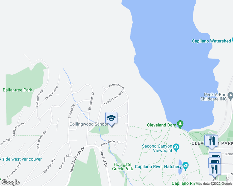 map of restaurants, bars, coffee shops, grocery stores, and more near 65 Laurie Crescent in West Vancouver