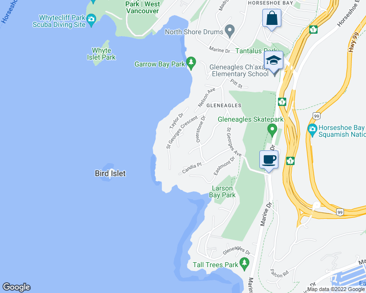map of restaurants, bars, coffee shops, grocery stores, and more near 6224 Saint Georges Place in West Vancouver