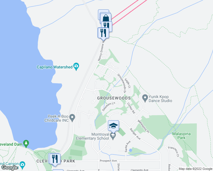 map of restaurants, bars, coffee shops, grocery stores, and more near 5648 Ptarmigan Place in North Vancouver