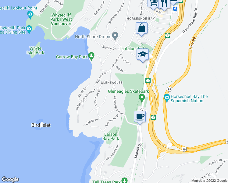 map of restaurants, bars, coffee shops, grocery stores, and more near 6262 Summit Avenue in West Vancouver