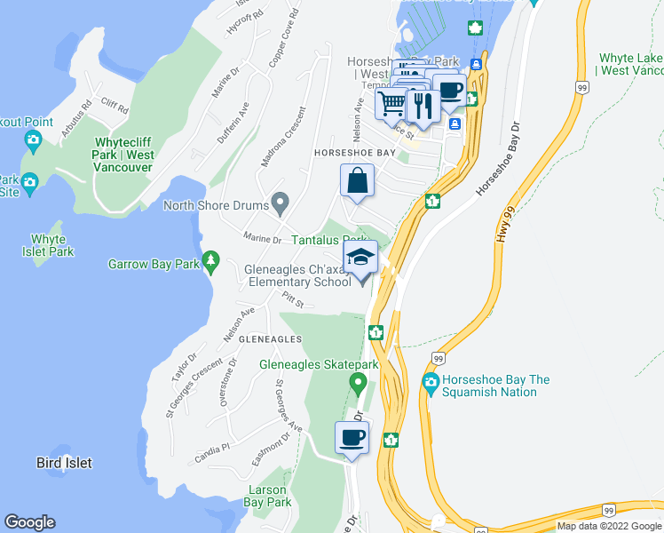 map of restaurants, bars, coffee shops, grocery stores, and more near 6438 Rosebery Avenue in West Vancouver