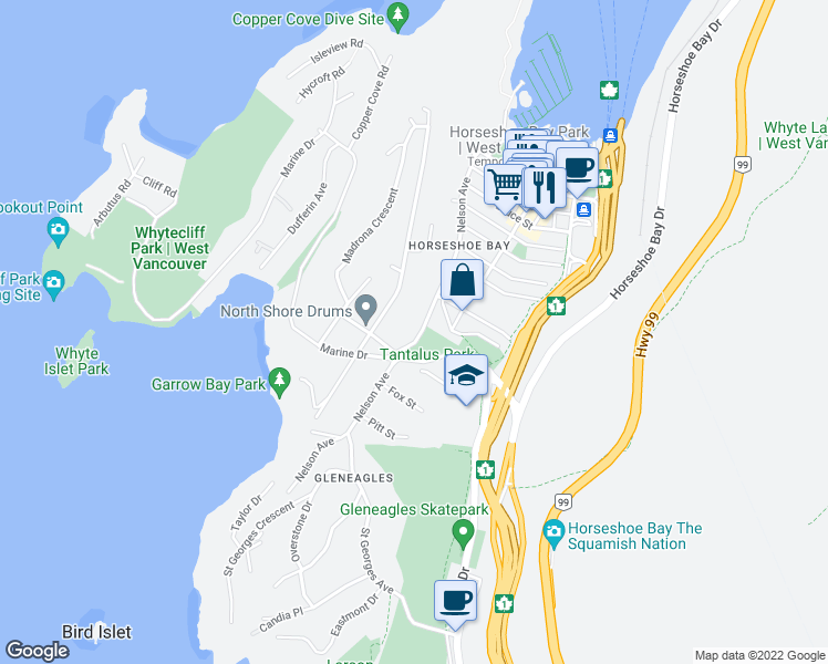 map of restaurants, bars, coffee shops, grocery stores, and more near 6421 Nelson Avenue in West Vancouver