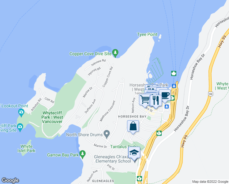 map of restaurants, bars, coffee shops, grocery stores, and more near 6627 Madrona Crescent in West Vancouver
