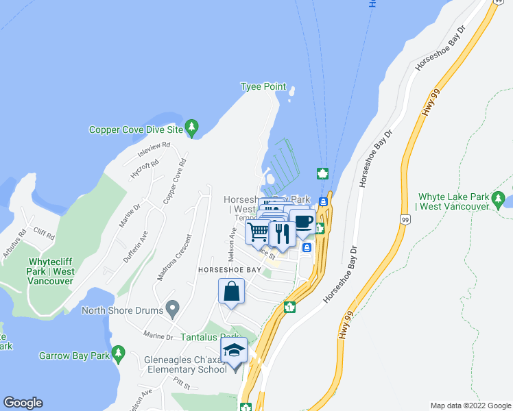 map of restaurants, bars, coffee shops, grocery stores, and more near 6707 Nelson Avenue in West Vancouver