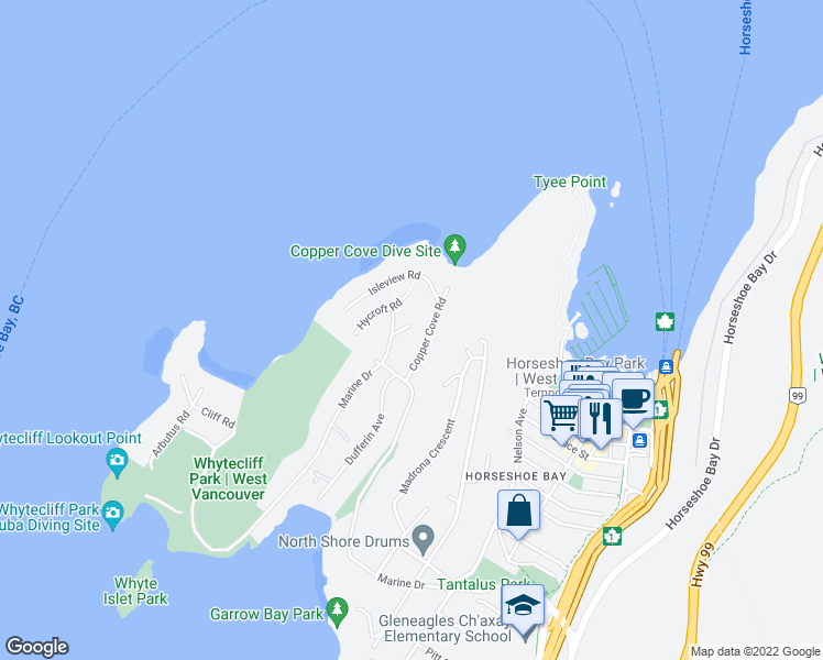 map of restaurants, bars, coffee shops, grocery stores, and more near 6840 Hycroft Road in West Vancouver