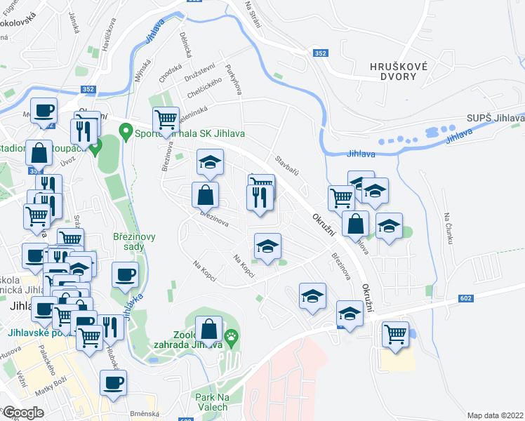 map of restaurants, bars, coffee shops, grocery stores, and more near 62 Březinova in Jihlava