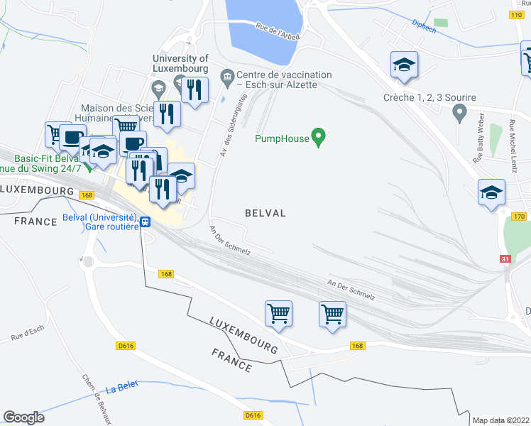 map of restaurants, bars, coffee shops, grocery stores, and more near in Esch-sur-Alzette