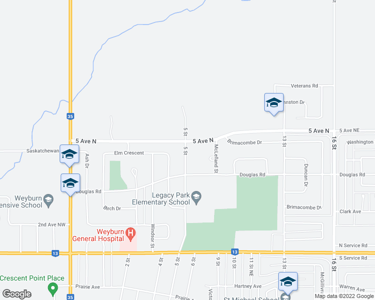 map of restaurants, bars, coffee shops, grocery stores, and more near 738 5 Street in Weyburn