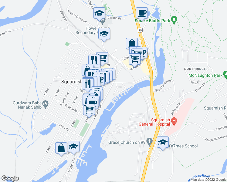 map of restaurants, bars, coffee shops, grocery stores, and more near 1466 Pemberton Avenue in Squamish