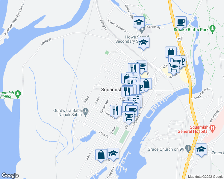 map of restaurants, bars, coffee shops, grocery stores, and more near in Squamish