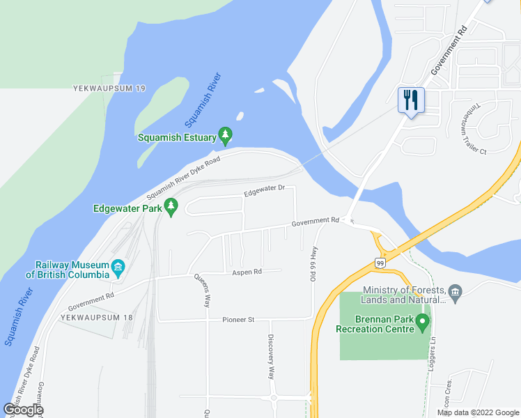 map of restaurants, bars, coffee shops, grocery stores, and more near 10 Edgewater Drive in Squamish