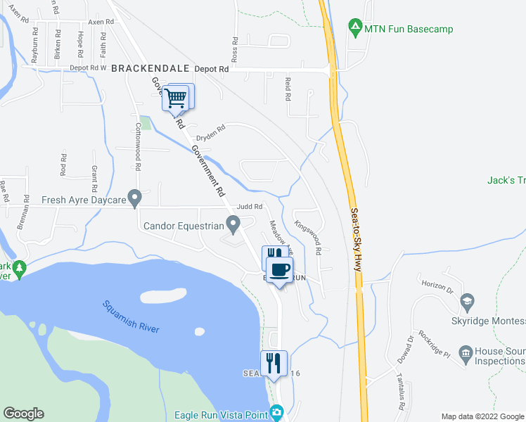 map of restaurants, bars, coffee shops, grocery stores, and more near 1565 Judd Road in Squamish