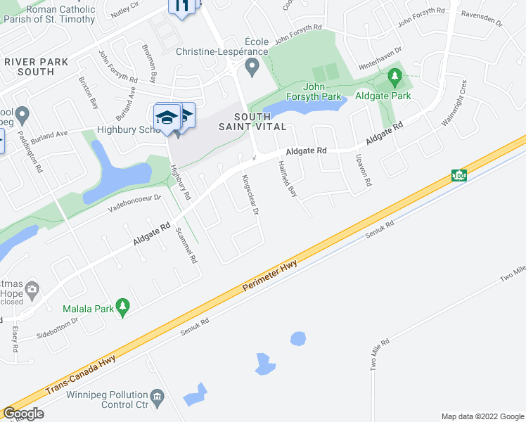 map of restaurants, bars, coffee shops, grocery stores, and more near 63 Kingsclear Drive in Winnipeg
