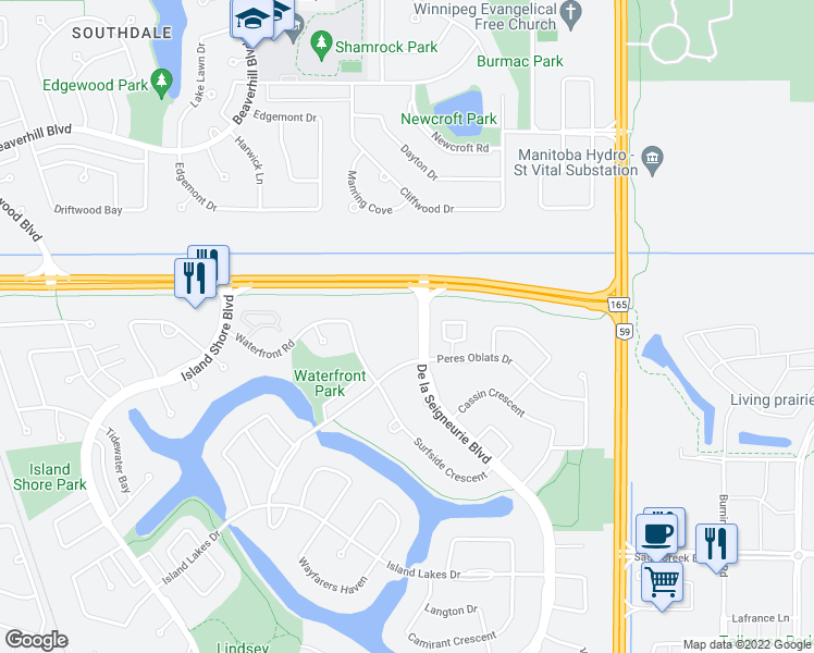 map of restaurants, bars, coffee shops, grocery stores, and more near 50 De la Seigneurie Boulevard in Winnipeg