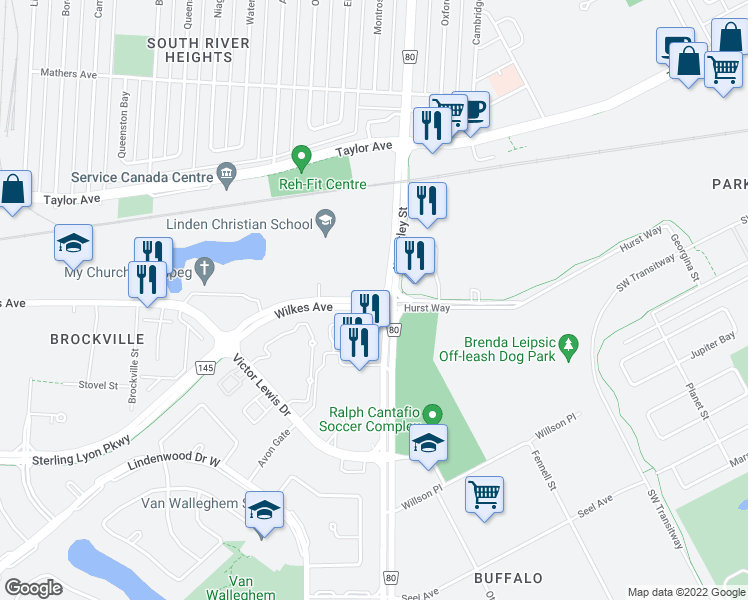 map of restaurants, bars, coffee shops, grocery stores, and more near 857 Wilkes Avenue in Winnipeg