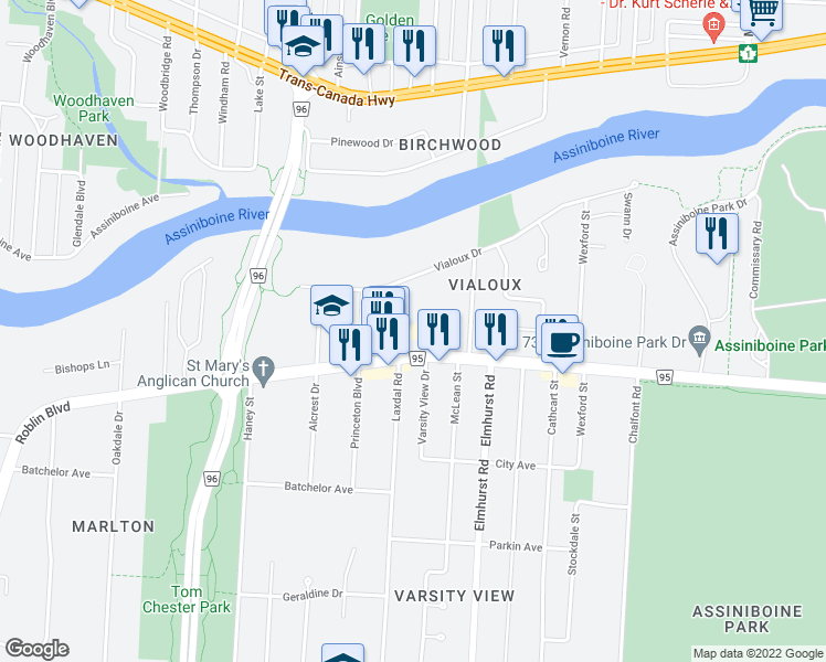 map of restaurants, bars, coffee shops, grocery stores, and more near 3505 Roblin Boulevard in Winnipeg