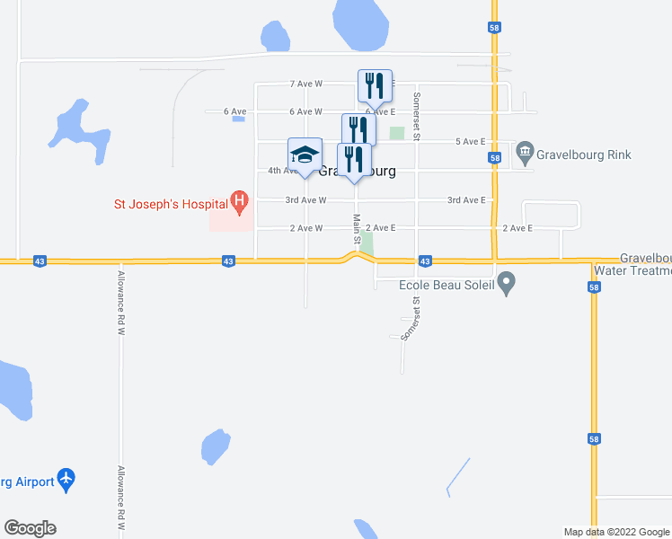 map of restaurants, bars, coffee shops, grocery stores, and more near 112 1 Avenue in Gravelbourg