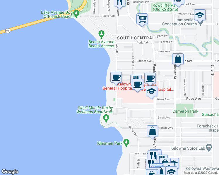 map of restaurants, bars, coffee shops, grocery stores, and more near 2248 Abbott Street in Kelowna