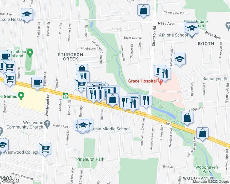 map of restaurants, bars, coffee shops, grocery stores, and more near 32 Greenway Crescent East in Winnipeg