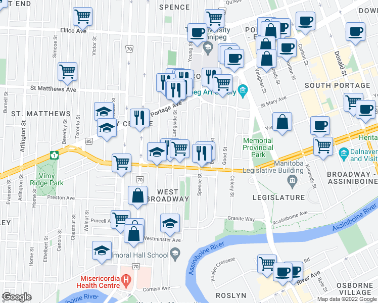 map of restaurants, bars, coffee shops, grocery stores, and more near 241 Young Street in Winnipeg