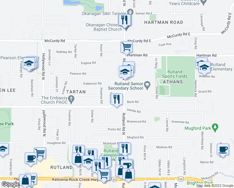 map of restaurants, bars, coffee shops, grocery stores, and more near 700 Rutland Road North in Kelowna
