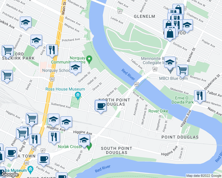 map of restaurants, bars, coffee shops, grocery stores, and more near 63 Barber Street in Winnipeg