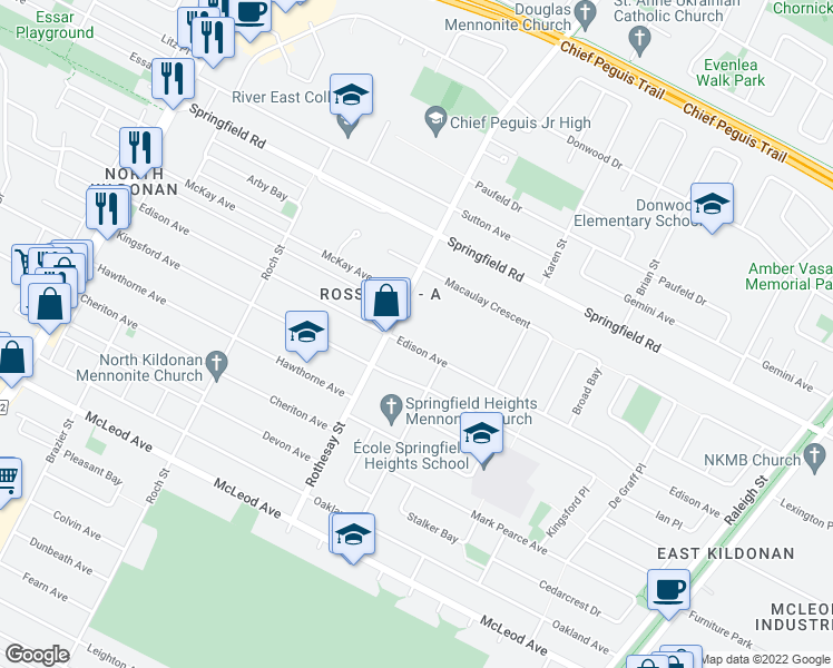 map of restaurants, bars, coffee shops, grocery stores, and more near 415 Edison Avenue in Winnipeg