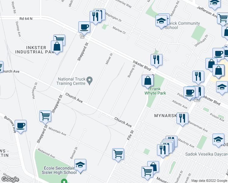 map of restaurants, bars, coffee shops, grocery stores, and more near 60 Bunting Street in Winnipeg