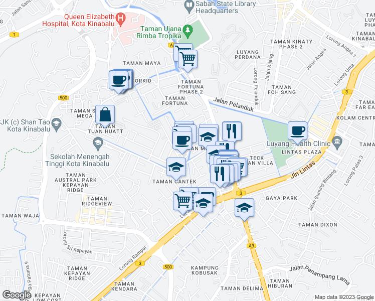Lorong bunga kertas kota kinabalu sabah walk score map of restaurants bars coffee shops grocery stores and more near lorong ccuart Gallery