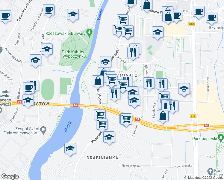 map of restaurants, bars, coffee shops, grocery stores, and more near 6 Podwisłocze in Rzeszow