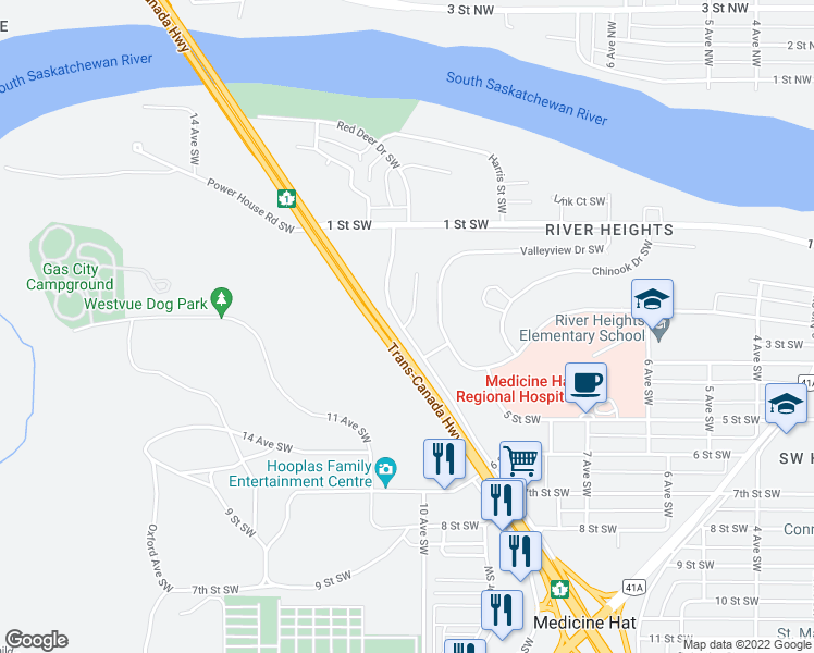 map of restaurants, bars, coffee shops, grocery stores, and more near in Medicine Hat