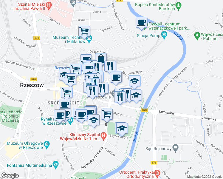 map of restaurants, bars, coffee shops, grocery stores, and more near 5 Aleksandra Fredry in Rzeszow