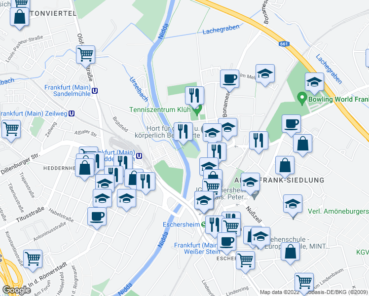 map of restaurants, bars, coffee shops, grocery stores, and more near 23 Im Uhrig in Frankfurt